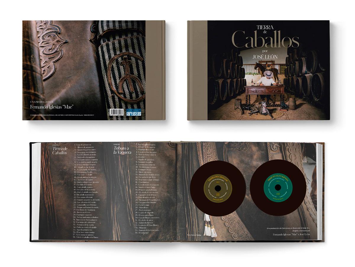 Tierra de Caballos por Jose Leon, interior del libro-disco